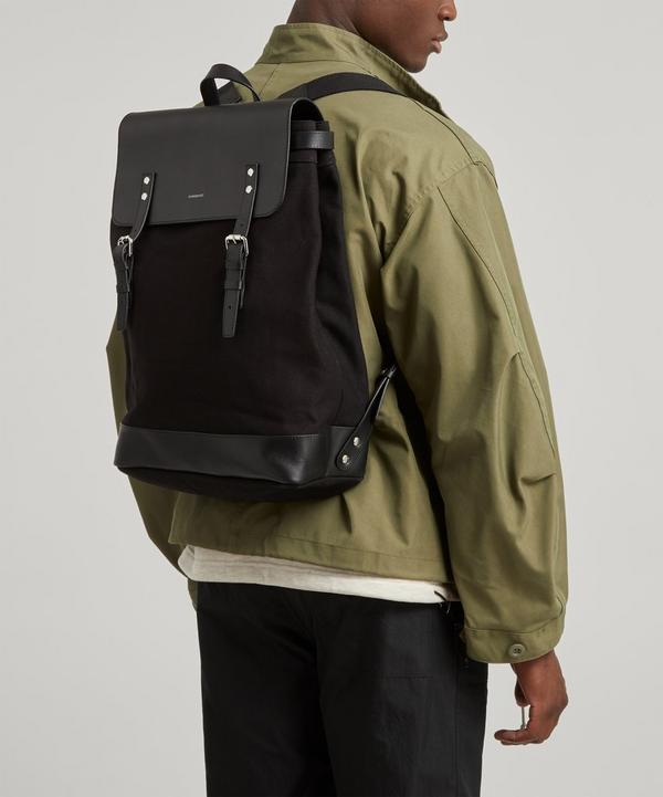 Hege Leather Cotton Canvas Backpack