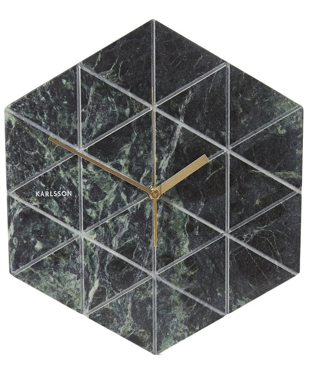 Marble Tiled Geometric Wall Clock