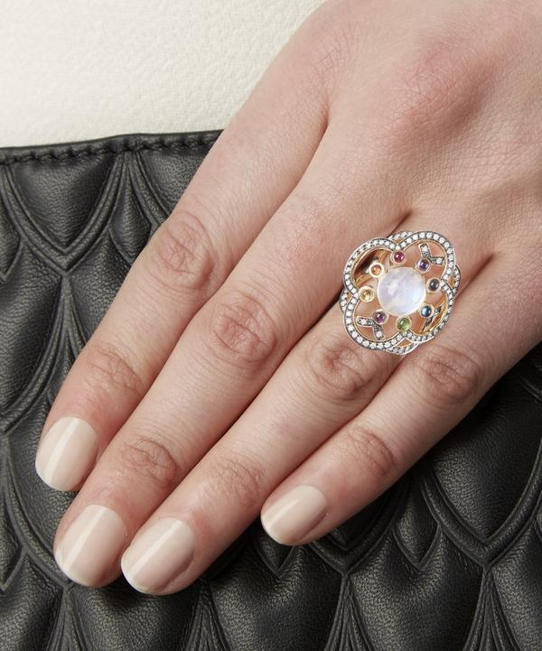 Gold Flower of Life Moonstone Ring