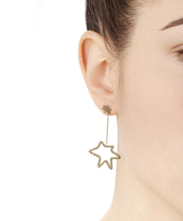 Gold Roys Dangling Star Stud Earrings