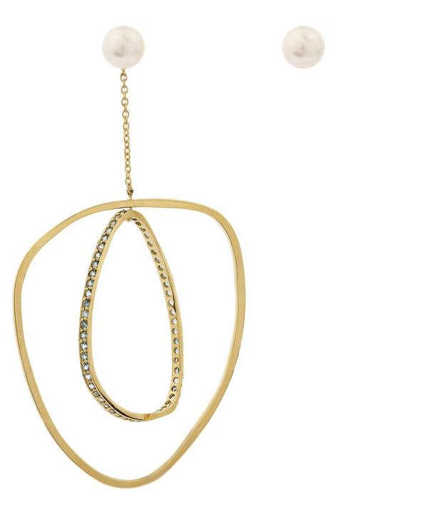 Gold Diamond and Pearl Mobile Earring and Stud