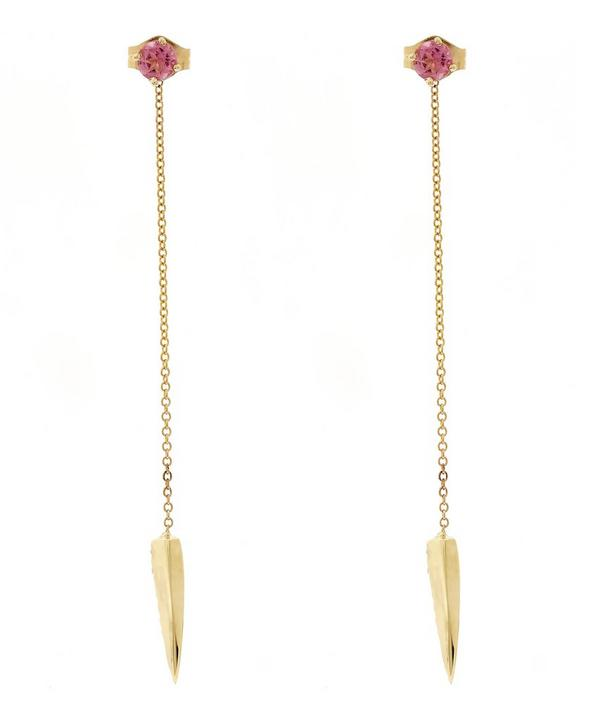Gold Dangling Fang Diamond and Pink Sapphire Earrings