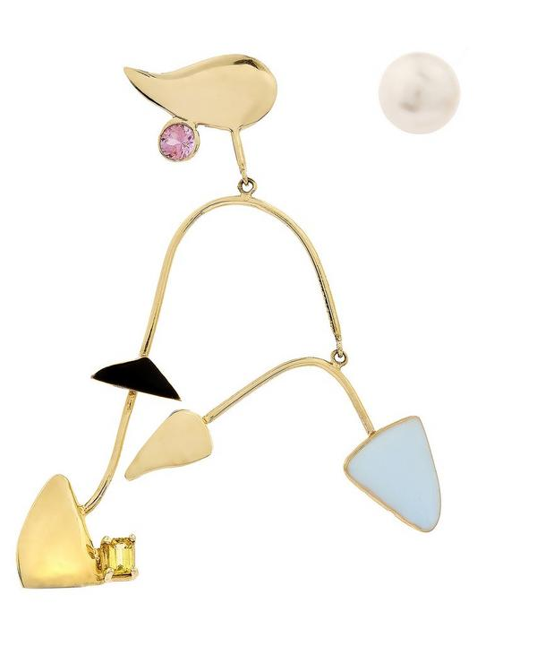 Gold Mobile Earring With Pearl Stud
