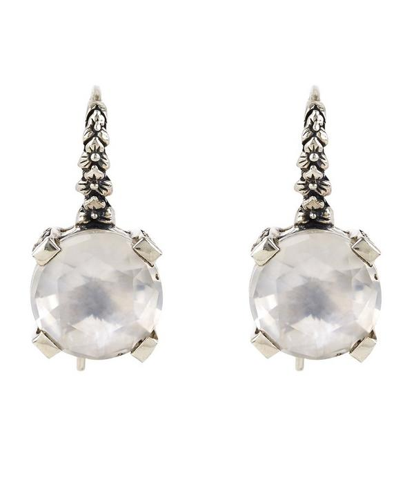 Silver Floral Engraved Mother of Pearl Drop Earrings