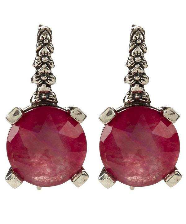 Crystal Quartz Red Drop Earring