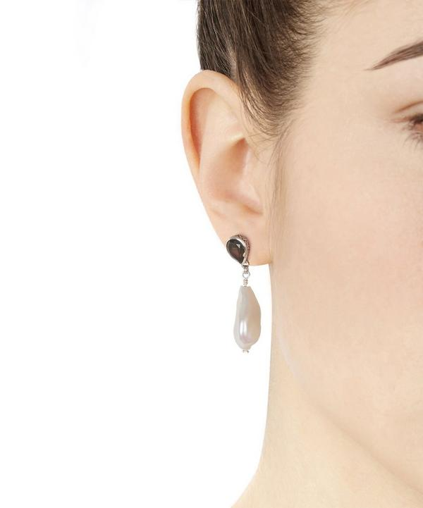 Silver Pearl Drop Earring with Smoky Quartz Stud