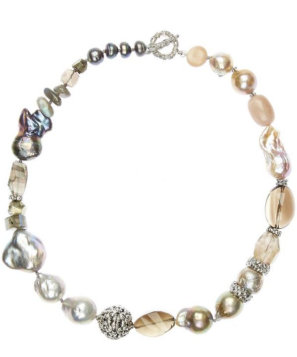 Stephen Dweck Silver Mixed Stone and Baroque Pearl Necklace