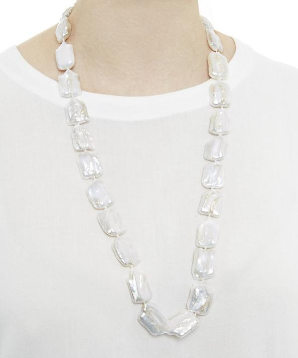 Stephen Dweck Long White Cushion Pearl Necklace