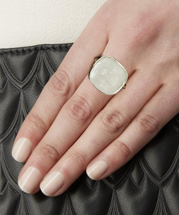 Silver Engraved Crystal Quartz and Mother of Pearl Ring