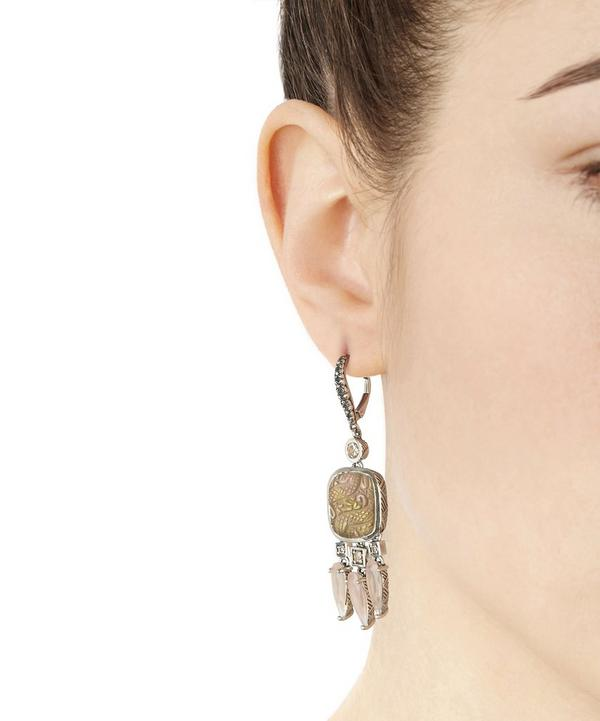 Silver Carved Pale Smoky Quartz Multi Drop Earrings