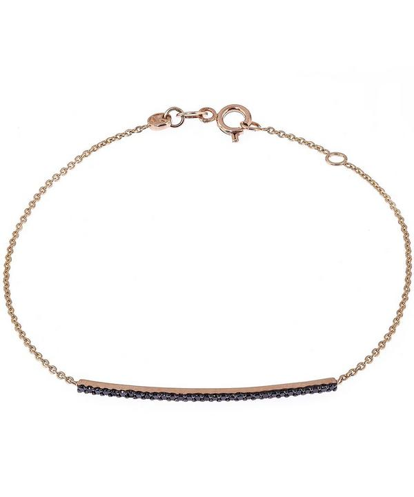 Rose Gold Lumiere Black Diamond Bar Bracelet with Chain