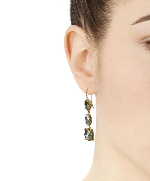 18ct Gold Three Drop White Quartz Earrings