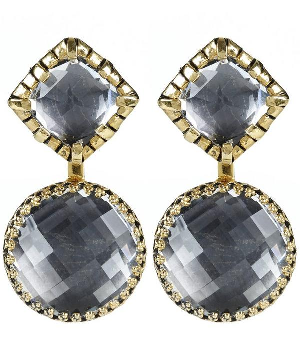 Gold White Quartz Sadie Cushion Earrings