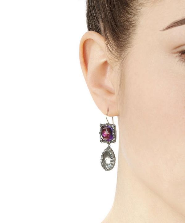 Rhodium-Plated Silver Sadie White Quartz Cushion and Pear Drop Earrings
