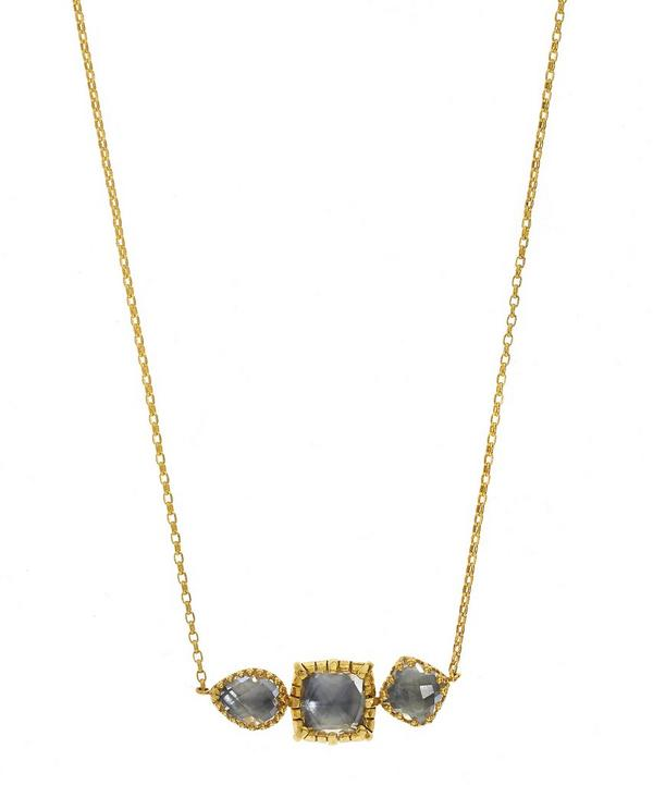 Gold Sadie Three Stone White Quartz Necklace