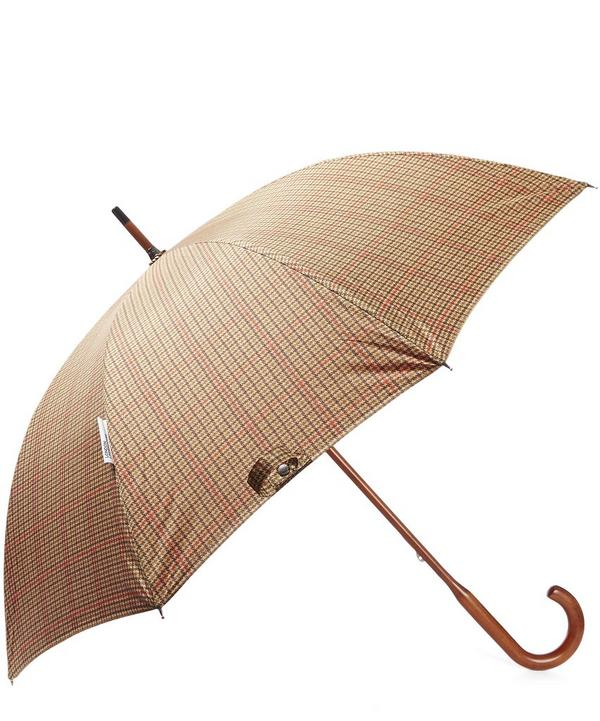 Checked Canopy Maple Wood Handle Umbrella
