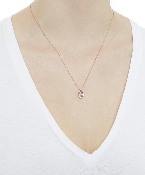 Rose Gold White Diamond Necklace with Rose de France Amethyst