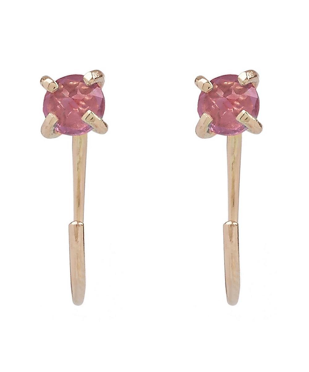 Rhodolite Garnet Gold Hug Hoop Earrings