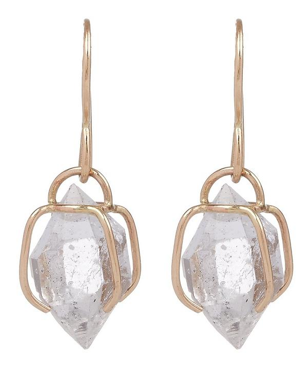 Gold Herkimer Diamond Cage Drop Earrings