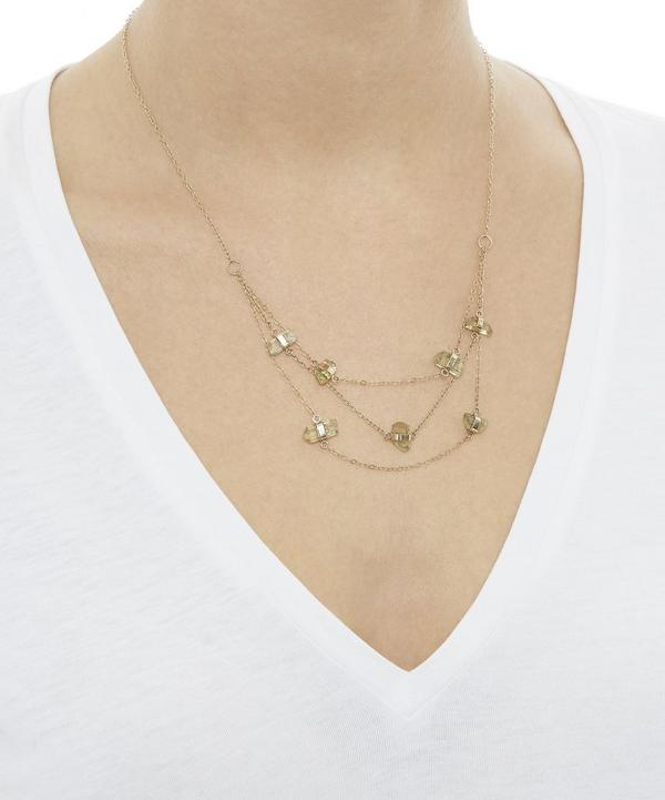 Gold Apatite Three Chain Necklace