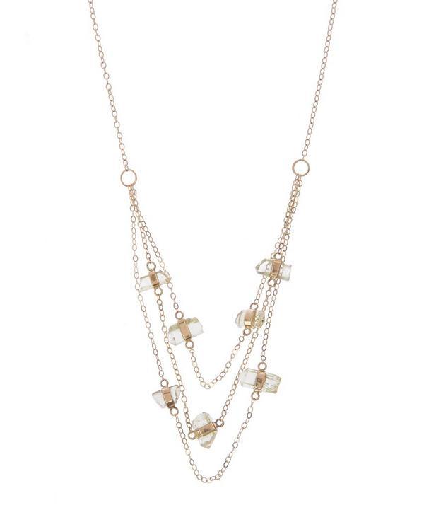Gold Apatite Three Chain Necklace