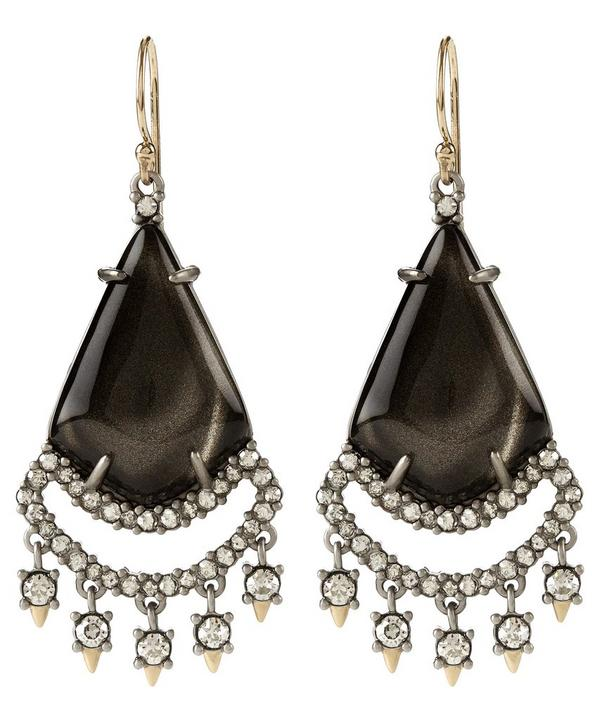Ash Crystal accent Drop Earrings