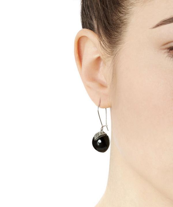Crystal Accent Spherical Drop Earrings