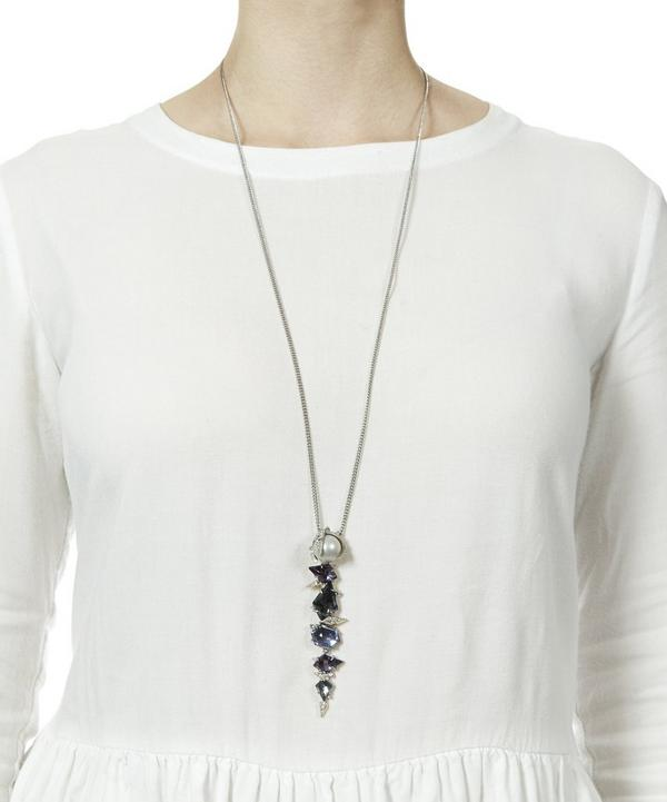 Pearl and Crystal Long Spike Necklace