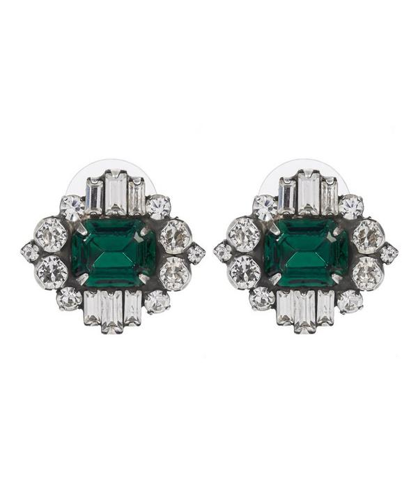 Athena Silver Emerald Stud Earrings