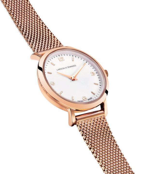 Lugano 26mm Rose Gold-White Milanese Watch