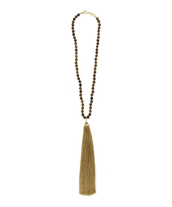 Long Beaded Tassel Platea Necklace