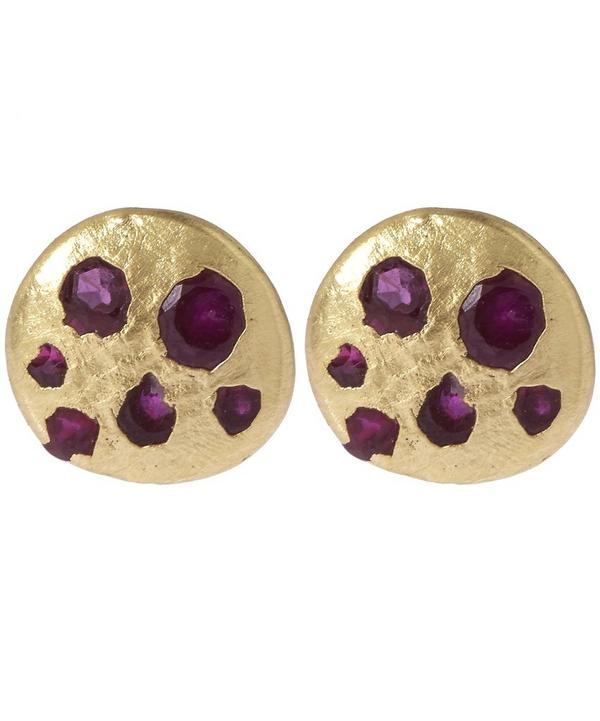 Mini Ruby Disc Stud Earrings