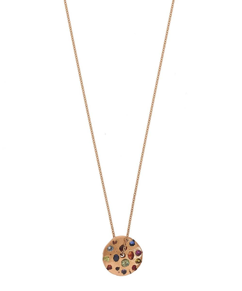 POLLY WALES ROSE GOLD RAINBOW SPINNING DISC PENDANT NECKLACE