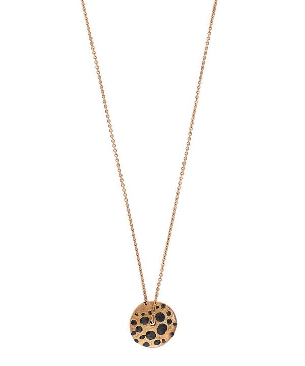 Rose Gold Black Sapphire Spinning Disc Pendant Necklace