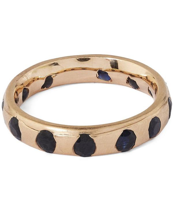 Gold Crystal Ring with Black Sapphires