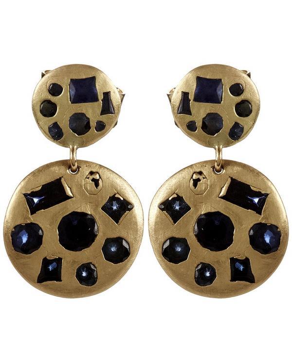 Gold Double Drop Blue Sapphire Earrings