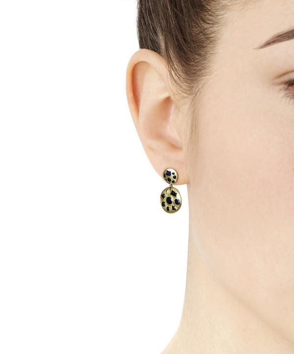 Gold Double Drop Blue Sapphire Earrings