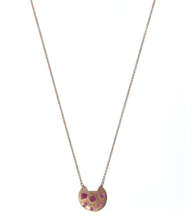 Rose Gold and Ruby Eroded Disc Necklace
