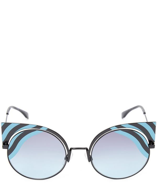 Colour Blocked Wave Stripe Cat Eye Sunglasses