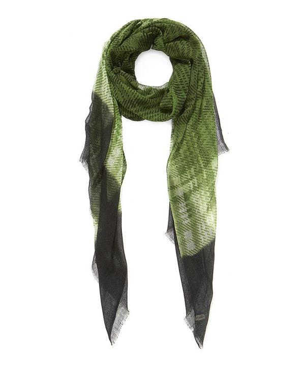 Check and Border Cashmere Scarf