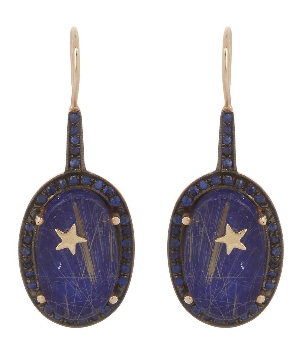 Gold Galaxy Lapis Lazuli Quartz and Sapphire Oval Earrings
