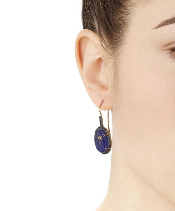 Gold Galaxy Lapis Lazuli Quartz and Sapphire Oval Earrings