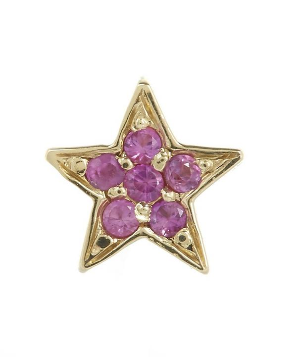 Gold Mini Star Pink Sapphire Stud Earrings