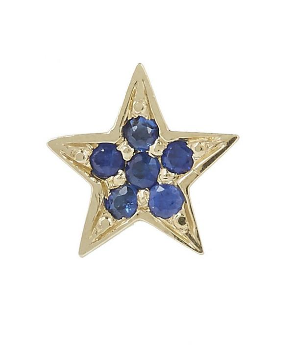 Gold Mini Star Blue Sapphire Stud Earrings