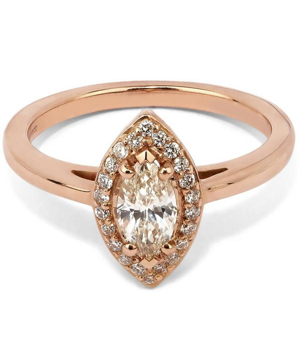 Rose Gold Peach Morganite Marquise Rosette Ring