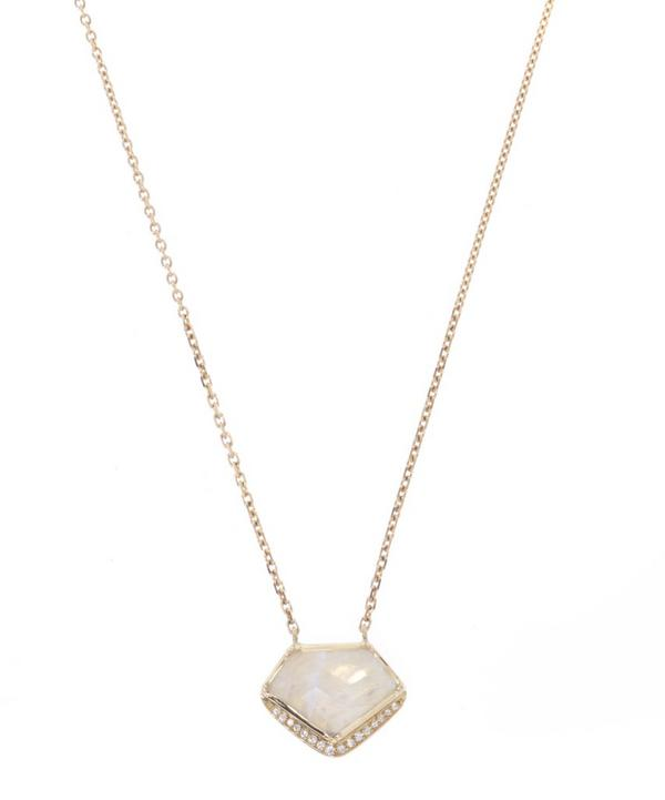 Geo Halo Moonstone Necklace