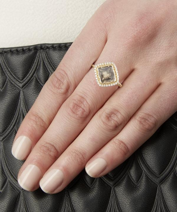 Gold Diamond Slice Pave Square Ring