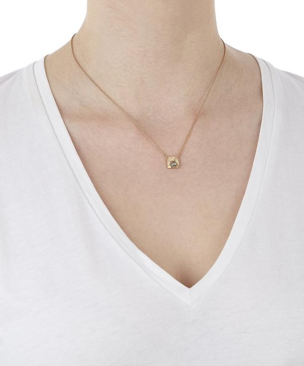 Rose Gold Engraved Square Diamond Slice Necklace