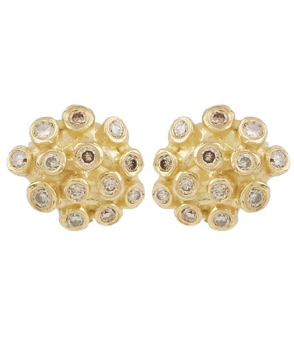 Gold Brown Diamond Cluster Stud Earrings