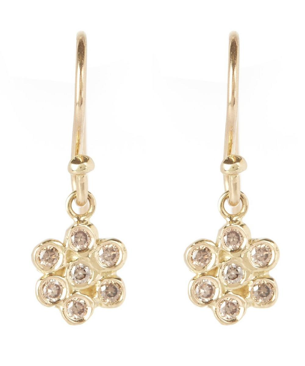 Gold and Brown Diamond Floral Drop Earrings